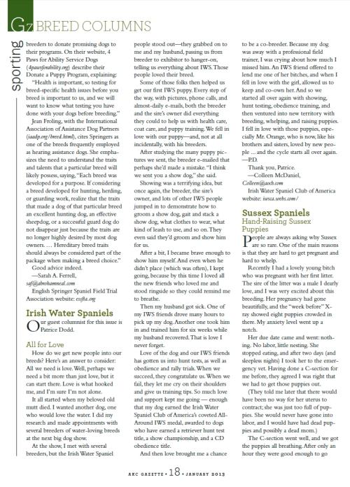 AKC Gazette, January 2013, page 18