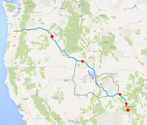 Portland Oregon to Silverton, Colorado (1200 miles one way). Red stars are where the photos where taken.